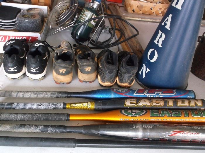 Softball bats and shoes