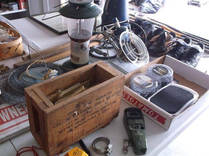 Wooden ammunition box and propane heater