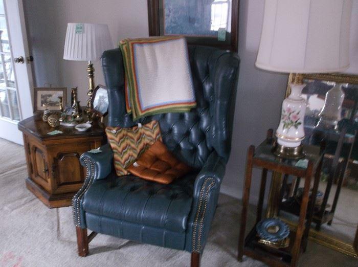 Octagon table, recliner, umbrella holder/table
