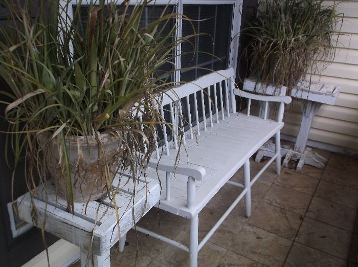 Bench and plant stands