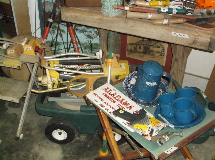 Gardening items and graniteware dishes
