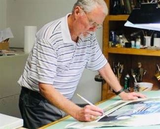 WADE STEPHENSON- local artist is our guest on Friday.  He will be finishing a watercolor of the hotel for you to bid on!!