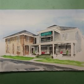 Wade Stephenson's watercolor has been started and will finish on site Friday of the sale.