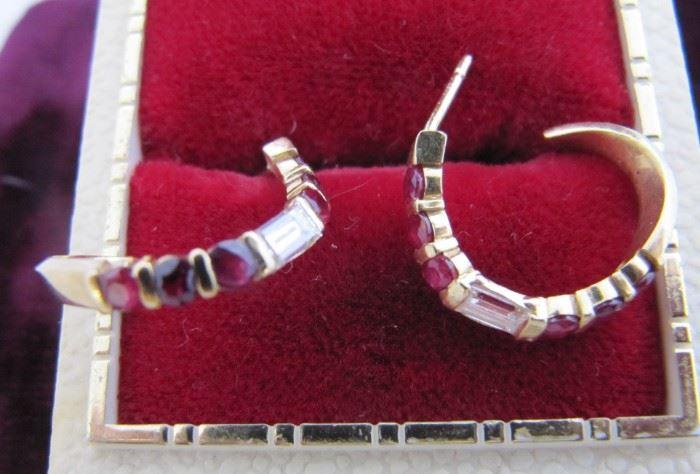 Custom ruby and diamond earrings