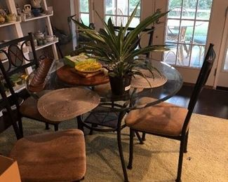 Glass top dining table with 4 chairs
