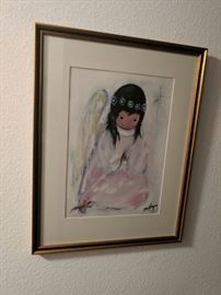 "DeGrazia print, ""A Little Prayer,"" signed and dated. SILENT AUCTION ITEM."