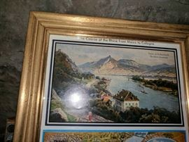 """Close-up of the top of a great print, """"The Course of the Rhine from Mainz to Cologne."""""""