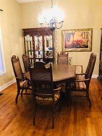 Dining table with 6 chairs as china cabinet