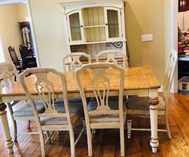Table and 6 chairs with hutch