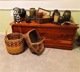 Pottery, baskets, twig basket, Mercury hood ornament