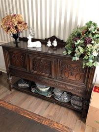 English Tudor design sideboard server or buffet !!
