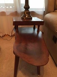 Mid-century hand crafted solid walnut end tables and coffee table set