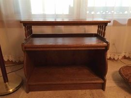 Hand crafted solid oak end table/magazine stand