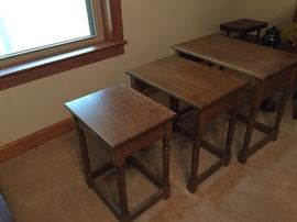 Hand crafted solid oak stackable tables
