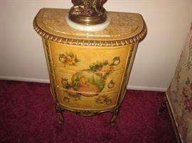 French Hand Painted Marble Top Portrait End Tables