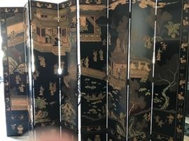 "Eight paneled oriental screen/room divider             92""High  X Approx. 9-10 Feet Long"