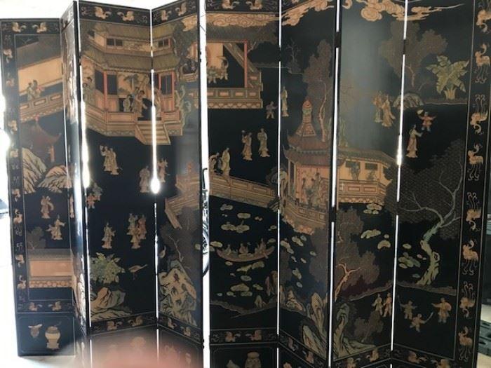 """Eight paneled oriental screen/room divider             92""""High  X Approx. 9-10 Feet Long"""