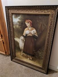 The newborn lamb shepherdess with lamb