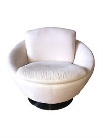 High end custom ultra suede cuddle chair. Purchased from Theodore's Gallery