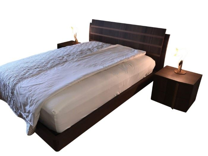 High End Italian Queen Bedroom Collection, 5 Piece Set.  Headboard and frame,  2 Night Stands, Dresser, Mattress