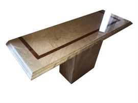 High end, Free-form Marble Console, with beveled top detail and decorative band design