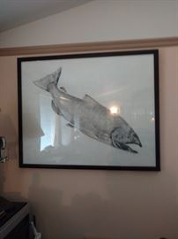 One of 2 Japanese Fish Rubbings. SIGNED by artist.