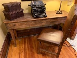 Rustic console table and vintage typewriter! There are TWO of these custom made consoles!