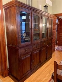 """Farmhouse inspired LARGE 4-door glass hutch...like new!  Measures 84""""H x 88""""W x 20""""D"""