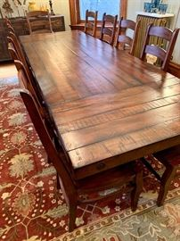"""Pottery Barn Benchwright Extending Table with 12 Wynn Chairs!  Gorgeous...and still available at Pottery Barn!  Table measures 86""""L x 42""""W x 30""""H and extends to 122""""!!!!"""