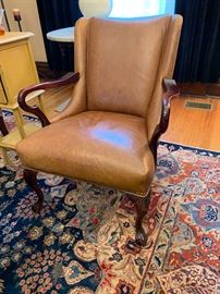 """Pair of beautiful leather club chairs from Restoration Hardware....check out those sexy curves! Gorgeous hand knotted wool rug measures 12'9""""x9."""
