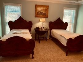 Antique twin French beds in perfect condition.