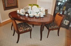 "Spectacular Baker old world mahogany 54"" round dining table and 4 Sloan mahogany and cane side chairs from the Milling Road Collection. Table includes two 22"" fillers"