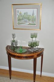 Lovely Councill foyer/side table perfect for entertaining shown with terrific depression green glass dessert plate with handle and two sets of green glass wine glasses