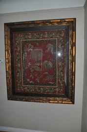"Framed tapestry in an antique copper frame by Jonathan Coastal Living. 48""w x 56""h"