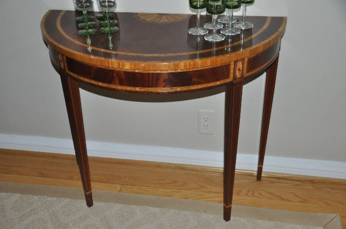 "Spectacular flame mahogany with inlay design Demi-lune table by Councill Craftsman , 35""w x 29""h x 16""d"