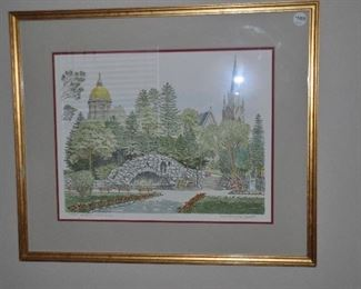 University of Notre Dame hand printed lithograph by Jack Appleton, double matted in a gold frame. AP/275