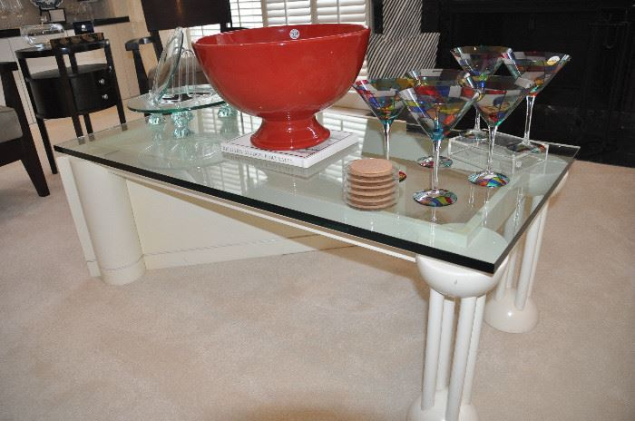 """Custom made contemporary geometric ivory lacquer coffee/cocktail table with 3/4"""" glass top, 51""""w x 18""""h x 29""""d shown with a large Italian centerpiece bowl, stained glass martini glasses and a pedestal glass cold server!"""