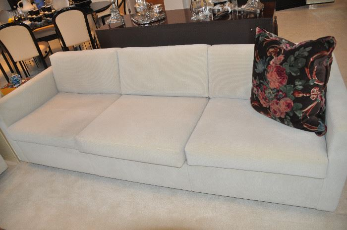 """One of the two 3-cushion beige brushed cotton upholstered sofas by Cartwright, 86""""w x 23""""h x 33""""d"""