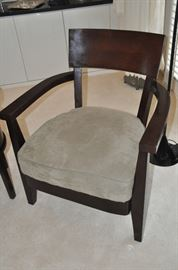 """Fabulous arm chair with taupe suede cushion upholstery by Bernhardt, 30.5""""w x 33""""h x 29""""d"""
