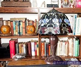 Books and Tiffany Style lamps