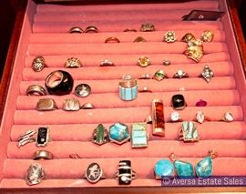 Cases of Fine and Costume Jewelry including Native American
