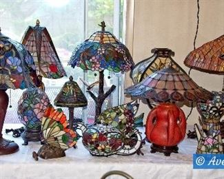 Table FULL of Tiffany Style Lamps