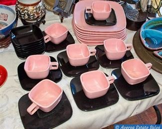 Fabulous 1950s Pink & Black Melmac Set