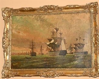 2. Antique English Maritime Oil Painting
