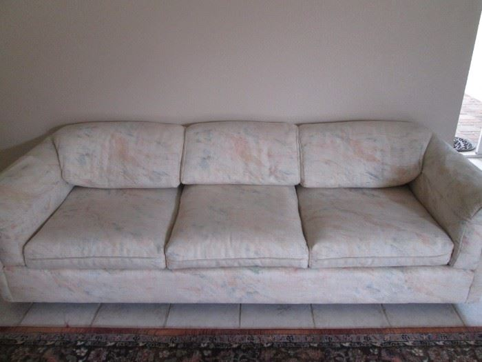 Matching Sofa & Love Seat, pale abstract pattern and colors