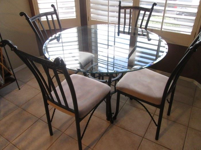 """Dinette Set/4-Chairs, 45"""" Round Glass Top with Metal Frames and Upholstered Seats"""