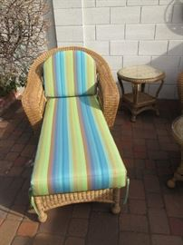 Wicker Chaise Lounge and Accent Table