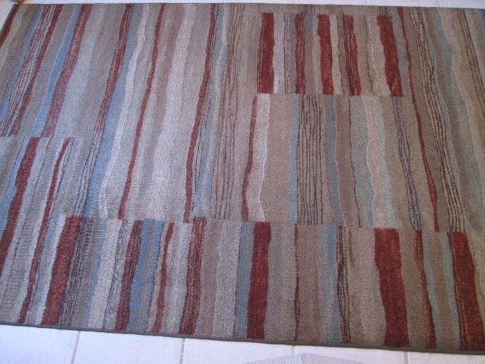 "Striped Area Rug in Terra Cotta, Tan, Blue Colors, Size,     60"" X 86"""
