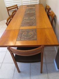 """Dining Room Table/6-Chairs with 2-18"""" Drop-Side Leaves.  This Stunning Danish Modern-Style Set is by """"Skovby"""".  The Center Tile Inset Design is in Rich Dark Tones.  Size 61"""" X 38"""""""