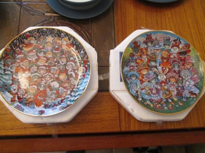 """""""Santa Claws"""" & Easter Purrade"""", Ltd. Ed. Plates from the Franklin Mint"""